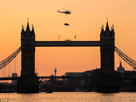 Jaguar XE flying over Tower Bridge  Image Credit: Daily Mail